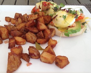 Lobster Eggs Benedict with Avocado and Home Fries
