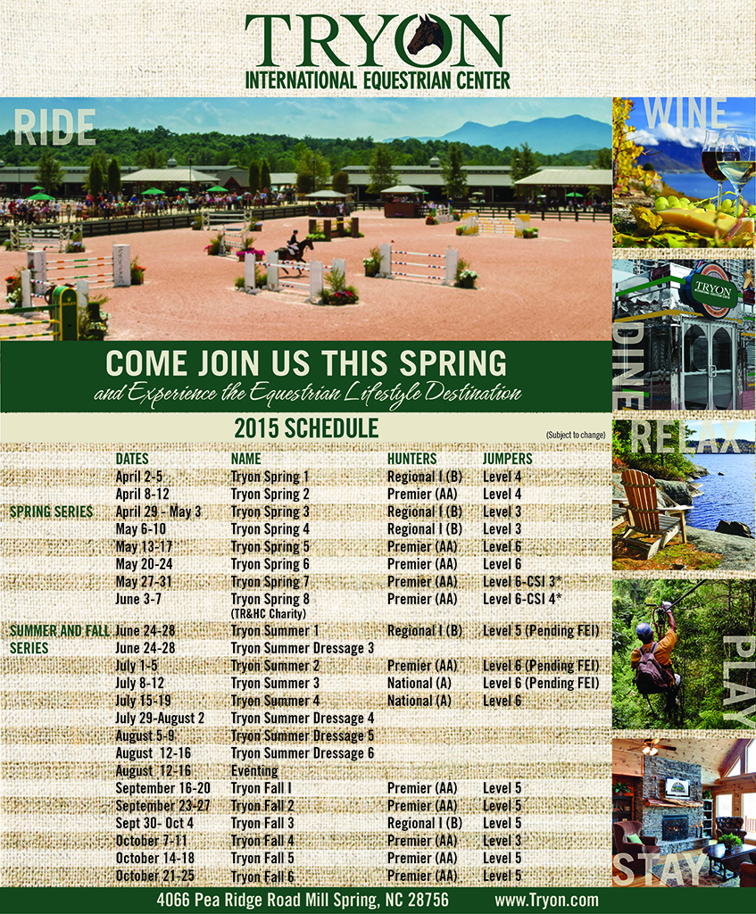 TRYON 2015 Schedule